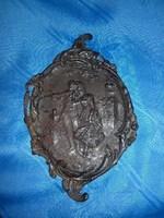 antik öntöttvas kínáló tálka barokk jelenettel