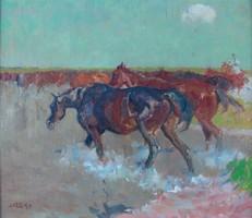 Juszkó Béla Ménes a gázlónál 45,6 x 53 cm olaj, farostlemez szignó verso