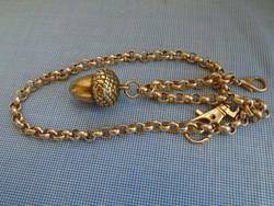 Sárga aranyozott Zsebóra lánc nagyon szép 77,3 gramm