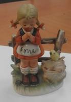 Imádkozó kislány Erich Stauffer kerámia