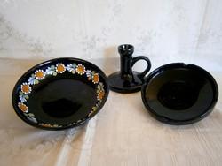 3 db Városlődi fekete-sötétkék kerámia: gyertyatartó, hamutál, kínáló tál