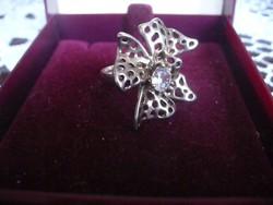 Ezüstözött szép virág formájú gyűrű