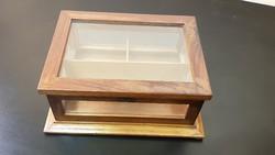 Gyönyörű,antik art deco üvegezett fa doboz,vitrin doboz