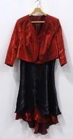 0W127 Piros-fekete organza kisestélyi ruha