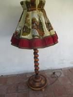 Régi koloniál állólámpa ritka vadászos vastag dupla szövet burával 140 cm