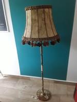 Különleges réz v. bronz és onix testű álló lámpa bőr pergamen burával