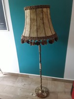 réz v. bronz és onix testű álló lámpa bőr pergamen burával