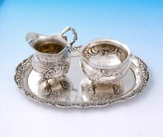 Német 800-as ezüst tejkiöntő, cukortartó és tálca