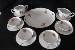 MCP porcelán 4 személyes teás készlet süteményes tállal