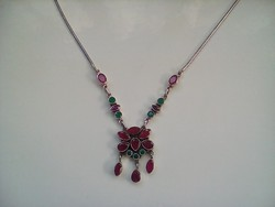 Csodás antik rubin-smaragd köves ezüst collié