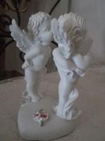 Szobor - angyalpár - műgyanta - hófehér - nagy - 20 x 12 x 10 cm - hibátlan