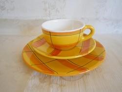 3 részes, 1 személyes kézzel festett kerámia majolika reggeliző teás készlet 3.