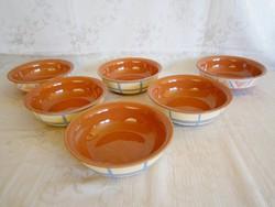 6 db kézzel festett belül mázazott kerámia majolika salátás vagy kompótos tálka
