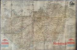 A Királyi Magyar Automobil Club utjelentése vászonra kasírozott térkép1:700000 lépték mérete:75x49cm