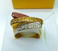Multicolor köves arany gyűrű eladó