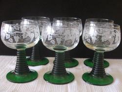 6 db szőlő mintás boros pohár