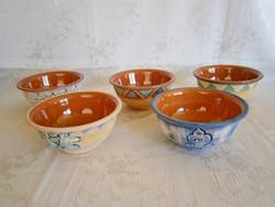 5 db kézzel festett belül mázazott kerámia majolika müzlis vagy kompótos tálka