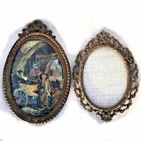 Régi és antik bronz és spiáter art fotó vagy kép keret, 2 db együtt!