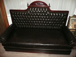 Gyönyörű, valódi marhabőr antik ónémet kanapé / szófa szép és stabil állapotban