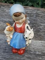 Sitzendorf  porcelán, kislány kutyusokkal