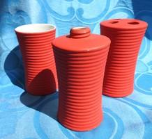 Retro piros henger alakú asztalközép váza készlet