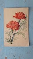 Régi virágos képeslap,szegfűs üdvözlő lap