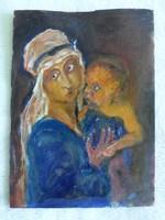 Mária gyermekkel - olaj karton kis festmény