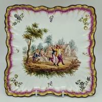 18. sz.-i Francia Marseilles-i Fajansz tál, Honore Savy  ca1770  II.