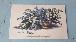 Régi virágos képeslap, üdvözlő lap
