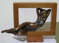 """Czobor Sándor """"Álmodozó"""" c. bronz kisplasztika eredetiségigazolással és ingyenes házhoz szállítással"""