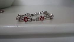 Elegáns 925 ezüst karkötő vörös  cirkón kővekkel