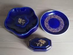 Hollóházi porcelán kobaltkék arany virág mintás porcelán csomag. Tálkák és gyűrűdoboz.