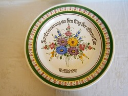 Gyönyörű, jelzett, kézzel festett majolika / kerámia nagy falitál, tányér 37 cm átmérő