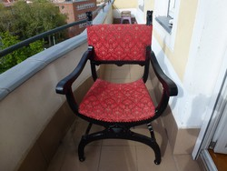 Karosszék, ollószék, antik szék, faragott, hibátlan, 19. század vége.