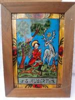 Régi vadász védő Szent üvegkép