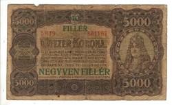 5000 korona / 40 fillér 1923