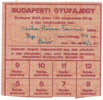 BUDAPESTI GYUFAJEGY - 1946 JÚLIUS 1-TŐL SZEPTEMBER 30-IG