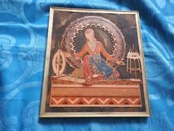 Örmény spirituális tűzzománc kép : mandala háttérben az élet fonalát fonó nő