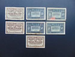 7 darab 20 - 50 fillér 1920 LOT !!!