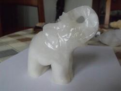 Vaskos Szerencsehozó Faragott Fehér Ónix Elefánt + Ajándék elefánt