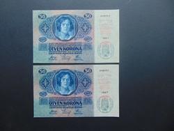 2 darab 50 korona 1914 Sorszámkövető 1 középső függőleges hajtásnyom !