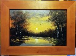 Károlyi Katalin- Erdőszéli naplemente ( 20 x 30, olaj, pácolt fakeretben )
