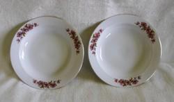 Alföldi, aranyozott szélű pipacsos mély tányér 2 db 23 cm