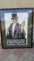 Nagyméretű,üvegezett, keretezett retro plakát eladó!
