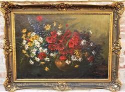 Hatalmas 120x90cm .Udvardy Flóra (1880 - ) Antik virágcsendélet c festménye EREDETI