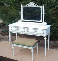 French Fehér tükrös asztal ülőkéjével!Első Ajánlatért Vihető!!!