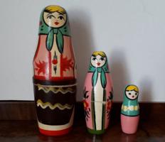 Retro orosz matrjoska baba 3 db