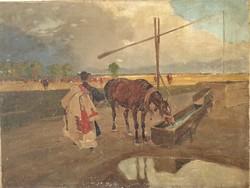 Hatalmas 100x75 cm Juszkó Béla jön a vihar c. EREDETI festménye garanciával