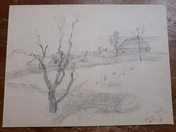 Herman Lipót (1884-1972) Sárospataki rajz 1958