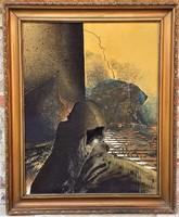 Hatalmas 103x83cm Buhály József (1945 - ) Alkony c. festménye EREDETI Garanciával !
